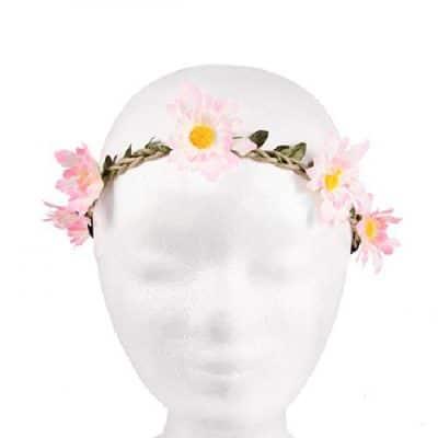 Haarband met bloemen roze wit