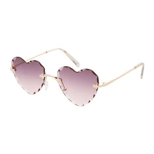 Trendy hartjes zonnebril chrome UV400 bruine lenzen
