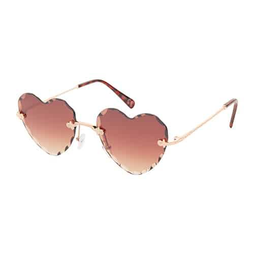 Trendy hartjes zonnebril chrome bruine lenzen