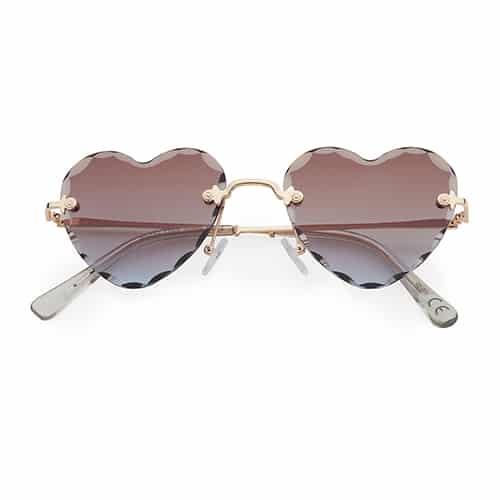 Trendy hartjes zonnebril chrome smoke lenzen