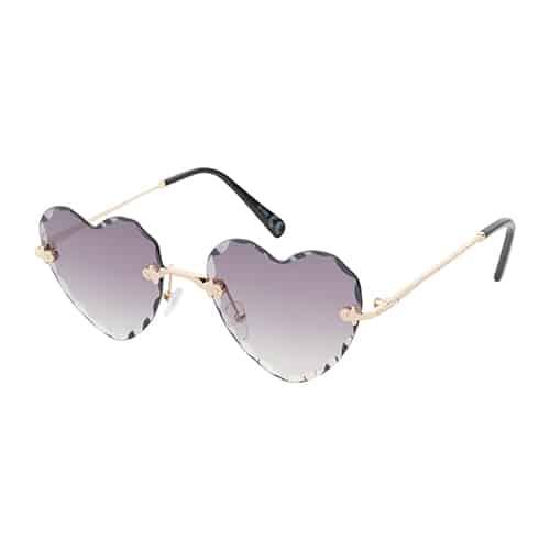 Trendy hartjes zonnebril chrome zwarte lenzen