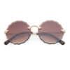 Trendy ronde zonnebril bruine lenzen