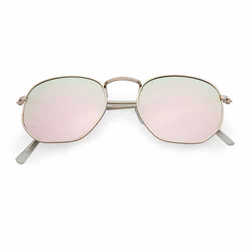 Trendy zonnebril hoeken goude spiegel lenzen