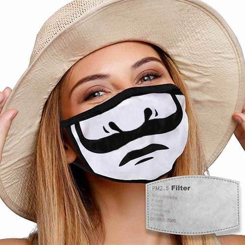 Mondkapje met filter mond met snor sfeer